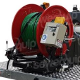 Heavy duty direct drive hydraulic powered steel hose reel with 180 ° pivot